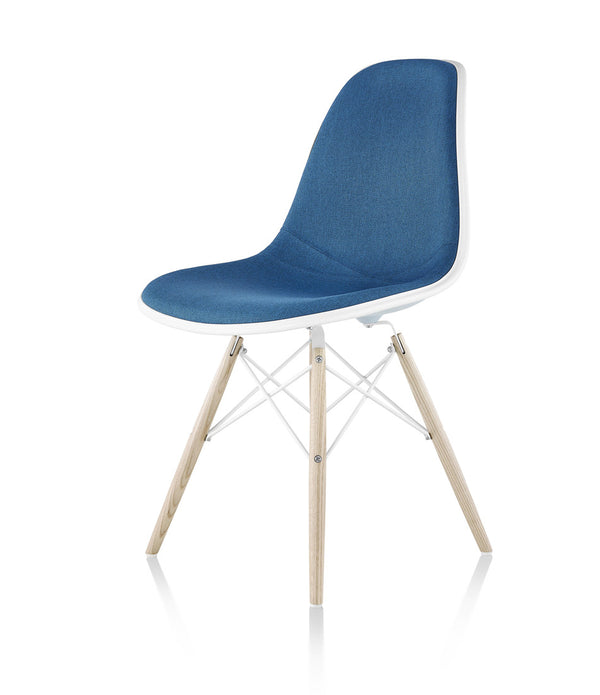 Eames Molded Plastic Side Chair, White Ash Dowel Base - Upholstered
