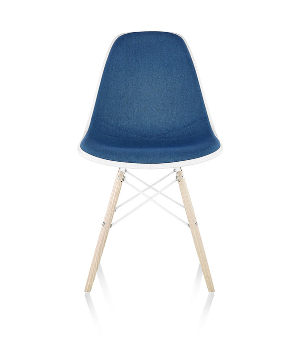 Eames® Molded Plastic Side Chair, White Ash Dowel Base - Upholstered
