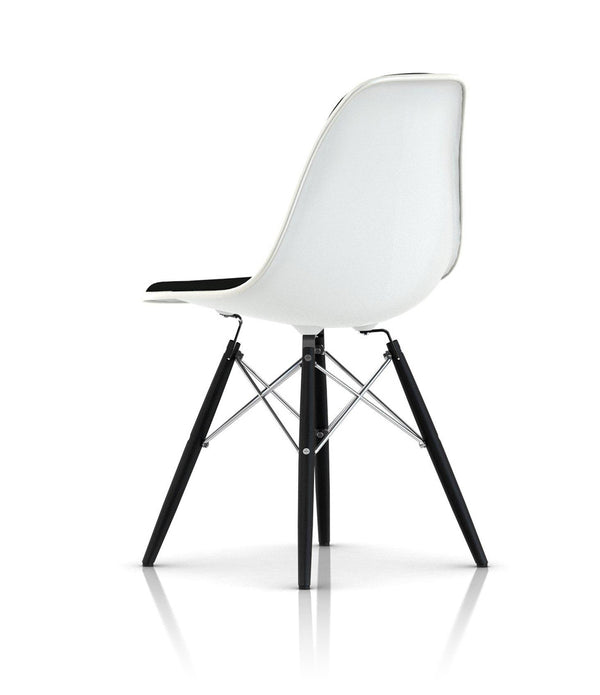 Eames® Molded Plastic Side Chair, Ebony Dowel Base - Upholstered