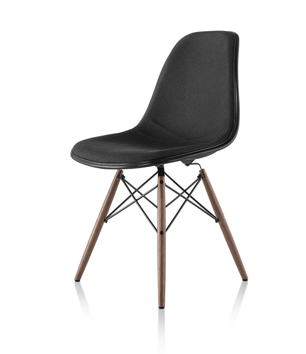 Eames® Molded Plastic Side Chair, Walnut Dowel Base - Upholstered