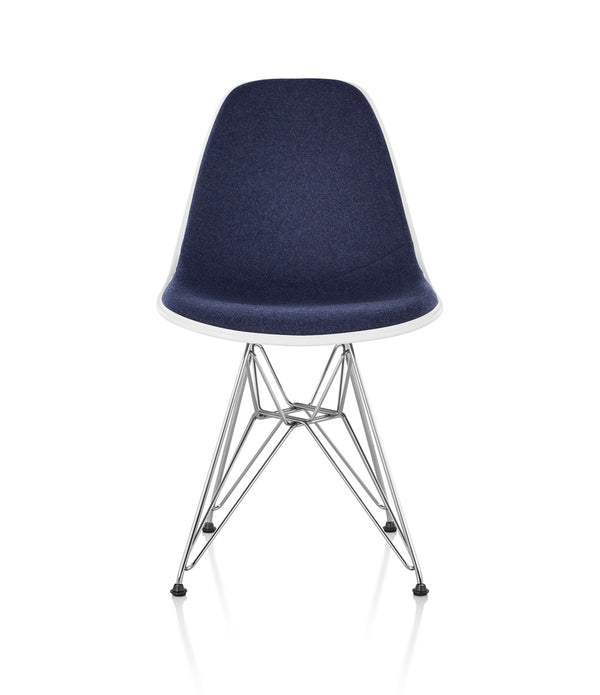 Eames® Molded Plastic Side Chair, Wire Base - Upholstered