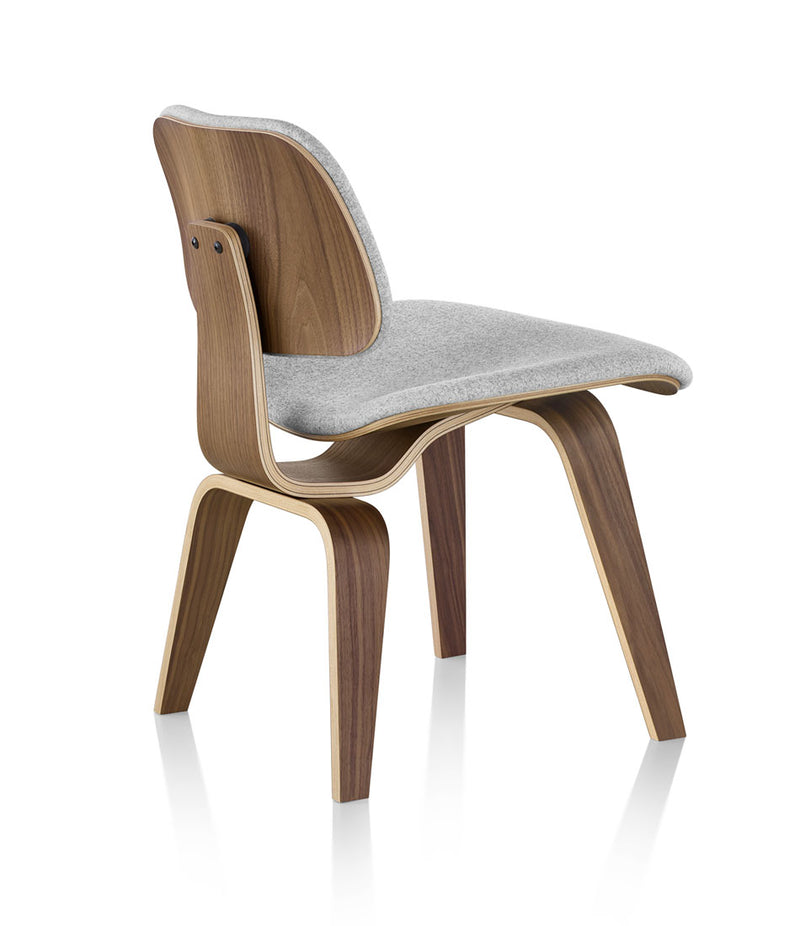 Eames Molded Plywood Dining Chair with Wood Base Upholstered