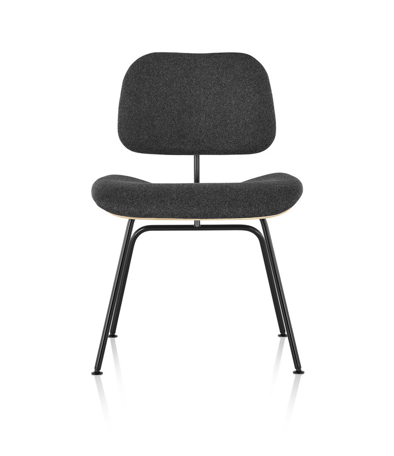 Eames Molded Plywood Dining Chair with Metal Base Upholstered