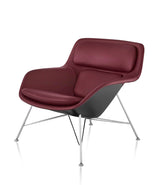 Striad Low-Back Lounge Chair - Wire Base - Leather