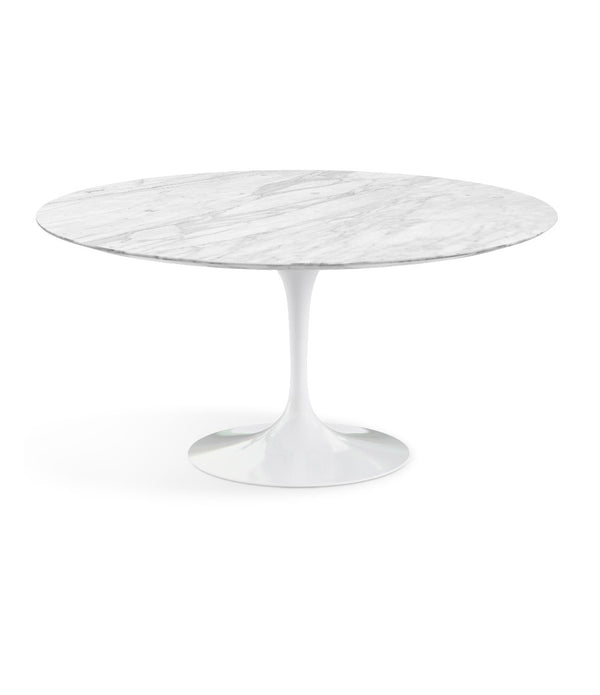 "Saarinen Round Dining Table - Carrara Marble/White Base 35"" - 60"""