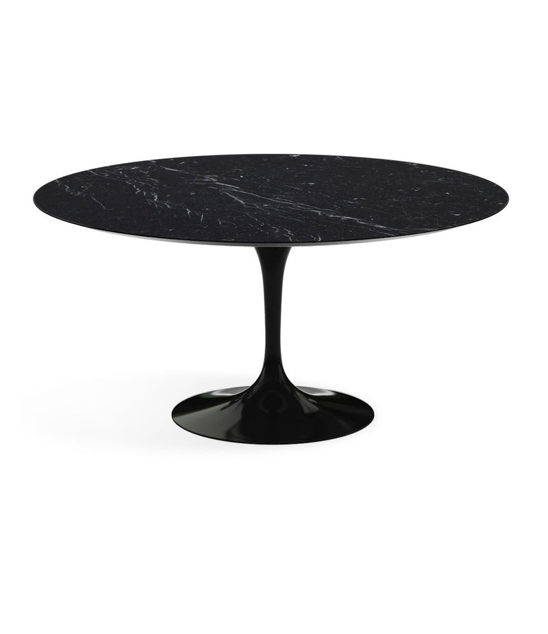 "Saarinen Round Dining Table - Marquina Marble/Black Base 35"" - 60"""