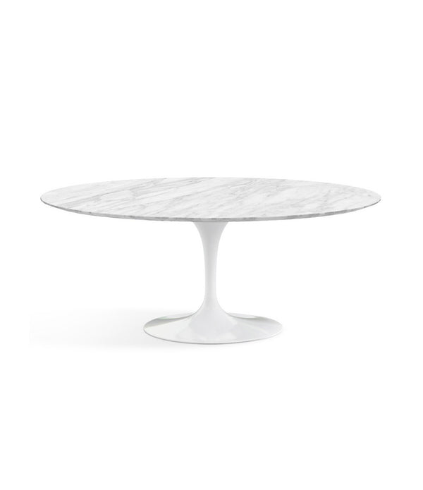 "Saarinen Oval Dining Table - Carrara Marble/White Base 72"" - 96"""