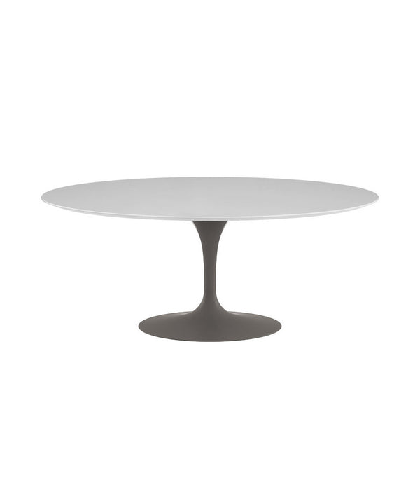 "Saarinen Oval Dining Table - White Laminate/Grey Base 72"" - 96"""