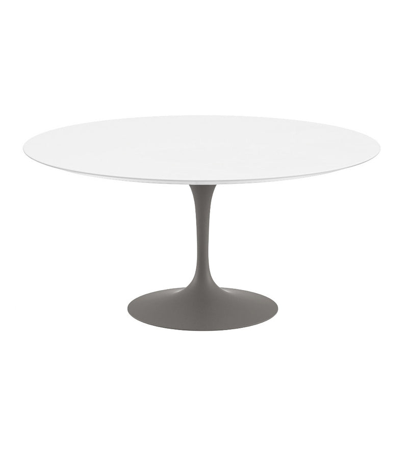 "Saarinen Round Dining Table - White Laminate/Grey Base 35"" - 60"""