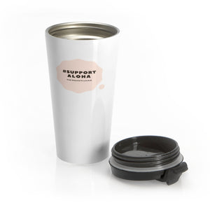 Stainless Steel Travel Mug #SUPPORT ALOHA Series Cloud Pink