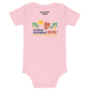 Baby Bodysuits Aloha Saturday Run Front & Back printing (Logo Black)