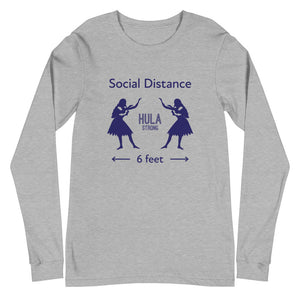 Unisex Long Sleeve Tee HULA STRONG Girl #3 (Social distance) Logo navy