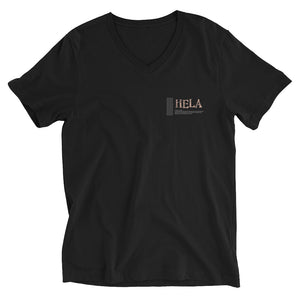 Unisex Short Sleeve V-Neck T-Shirt HELA Logo White