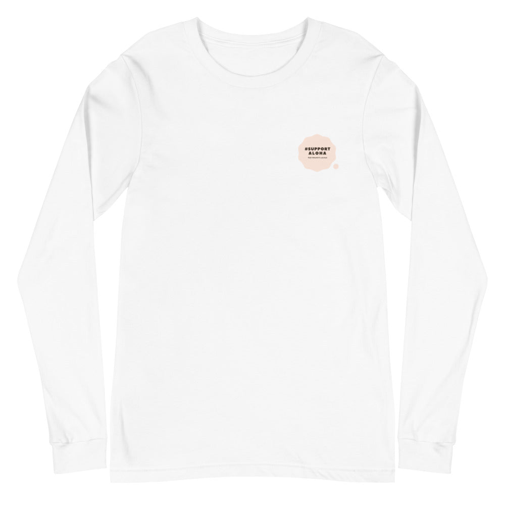 Unisex Long Sleeve Tee #SUPPORT ALOHA Series Cloud Pink