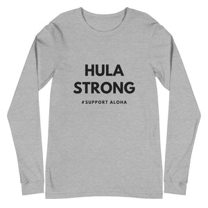 Unisex Long Sleeve Tee HULA STRONG Logo Black