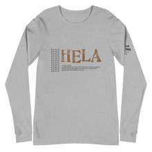 Load image into Gallery viewer, Unisex Long Sleeve Tee HELA Front & Shoulder printing