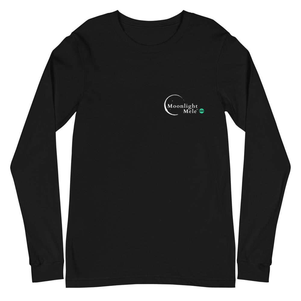 Unisex Long Sleeve Tee Moonlight Mele Logo White
