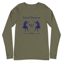 Load image into Gallery viewer, Unisex Long Sleeve Tee HULA STRONG Girl #3 (Social distance) Logo navy