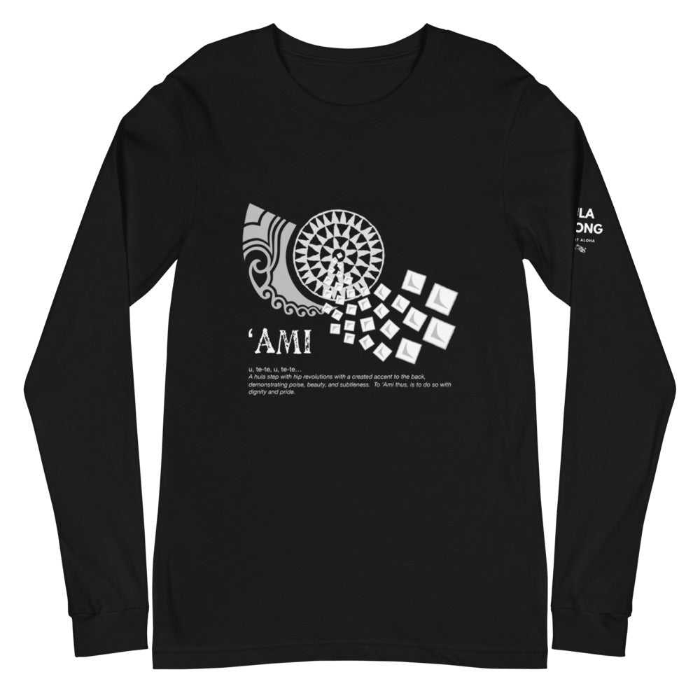 Unisex Long Sleeve Tee AMI Front & Shoulder printing Logo White