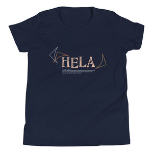 Youth Short Sleeve T-Shirt HELA Front & Back printing Logo White