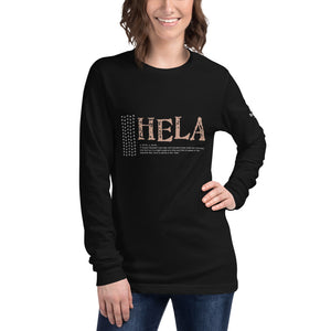 Unisex Long Sleeve Tee HELA Front & Shoulder printing Logo White