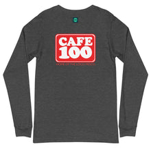 Load image into Gallery viewer, Unisex Long Sleeve Tee Cafe 100 Front & Back printing