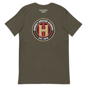 Short-Sleeve Unisex T-Shirt Hawaii Soccer Academy Front & Back printing (Logo White)