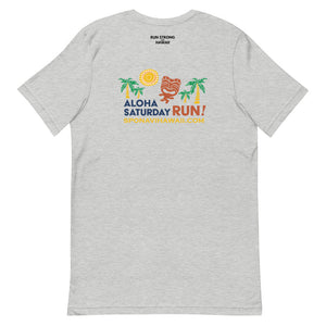 Short-Sleeve Unisex T-Shirt Aloha Saturday Run Front & Back printing (Logo Black)