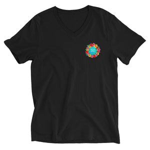 Unisex Short Sleeve V-Neck T-Shirt #SUPPORT ALOHA Series Flower