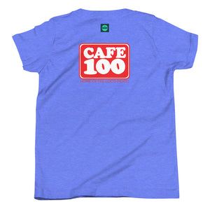 Youth Short Sleeve T-Shirt Cafe 100 Front & Back printing