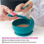 Load image into Gallery viewer, Silicone Suction Bowl Set with 2 Feeding Spoons & Storage Bag