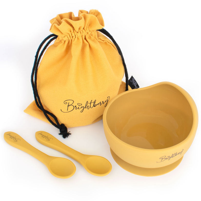 Silicone Suction Bowl Set with 2 Feeding Spoons & Storage Bag