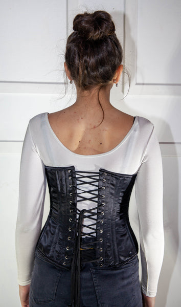 Black Satin Underbust Corset WIth Hooks