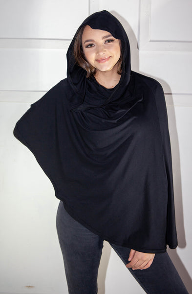 Hooded Ponchow In Black