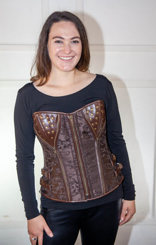 Full Brown Leather Corset With Cups