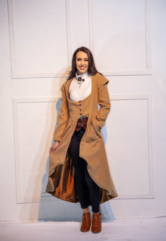 Long Camel Steampunk Coat