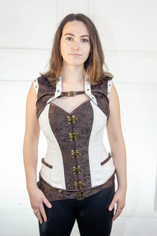 White and Brown Full Corset