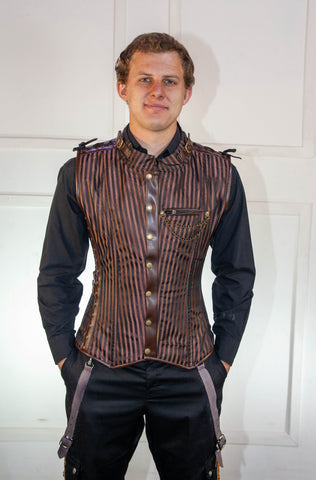 Brown Striped Waistcoat Corset