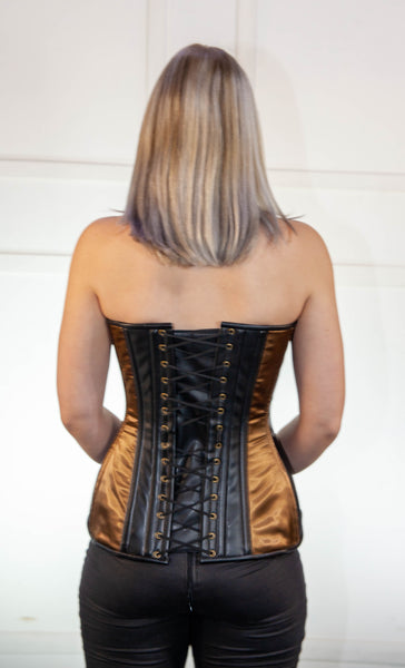 Brown and Black Corset With Leather
