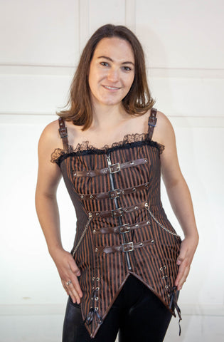 Full Striped Brown Corset