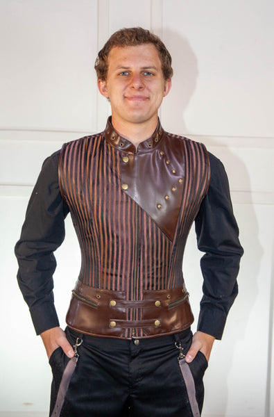 Brown Striped Waistcoat Corset With Leather