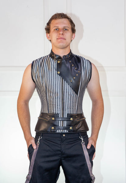 Black Striped Waistcoat Corset With Leather