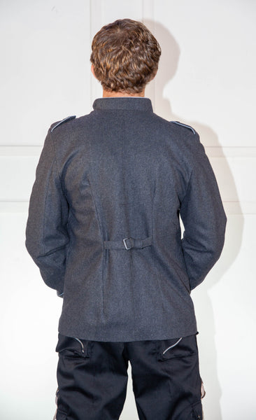 Military Grey Jacket With Blue
