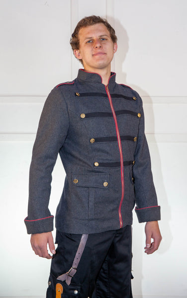 Military Grey Jacket With Red