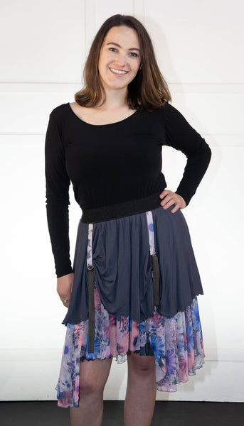 Grey Floral Layered Skirt