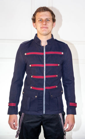 Military Blue Jacket With Red And Light Blue Trim