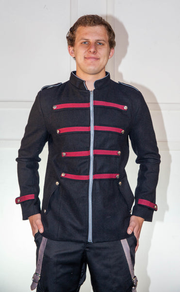 Military Black And Red Jacket With Light Blue Trim