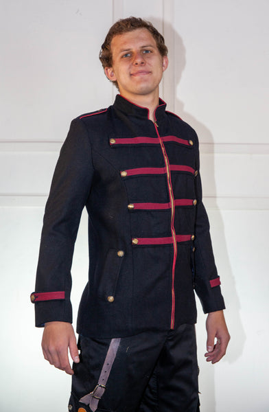 Military Black And Red Jacket With Red Trim