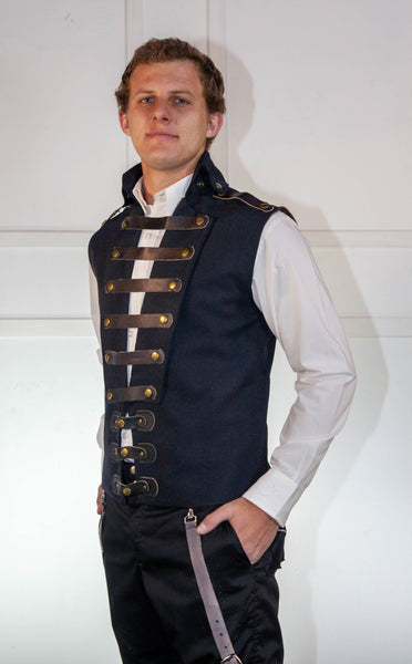Black Waist Coat With Brown Leather Straps