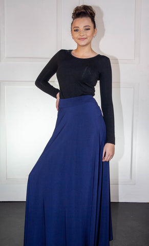 Navy Blue Flair Long Skirt
